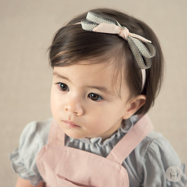 Pink and Gray Mas Bow Ribbon Hairband for Baby Girls 3-18M - Bonjour Bear