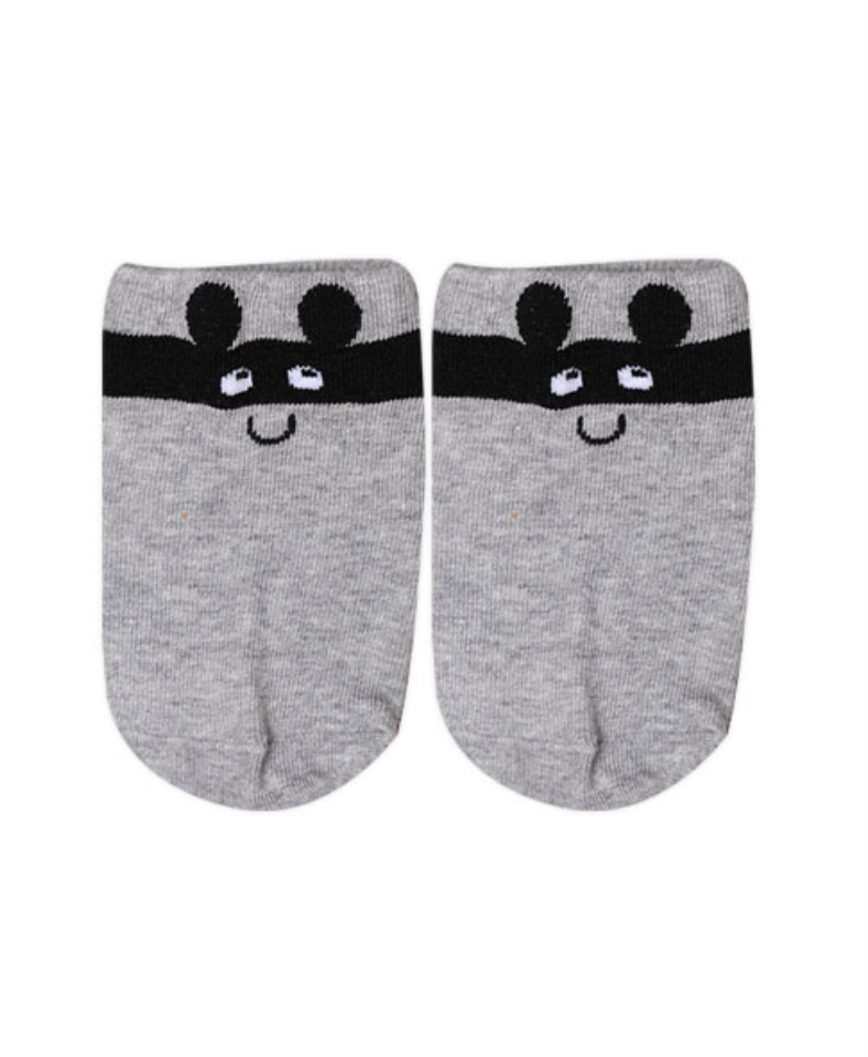 Gray Mask Animal Socks for Baby and Toddler Boys and Girls 0-2T - Bonjour Bear