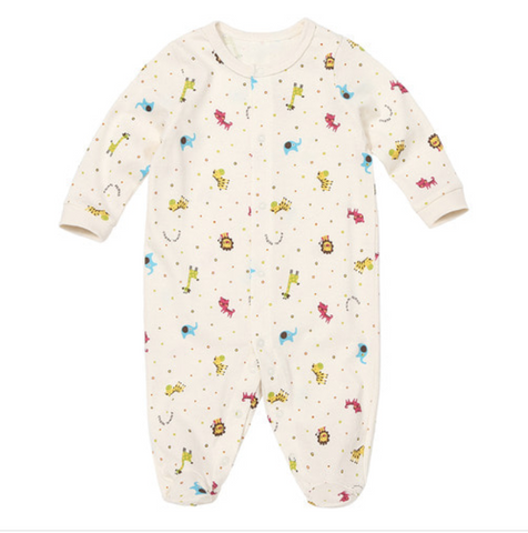 Newborn Baby Colorful Mini Animal Zoo Organic Korean Footed Onesie for Baby and Toddler Boys and Girls 0-6M - Bonjour Bear
