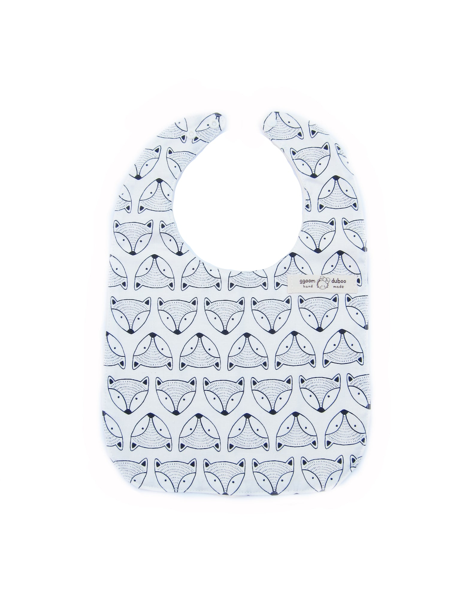 Black & White Modern Fox Bib for Baby and Toddler Boys and Girls - Bonjour Bear
