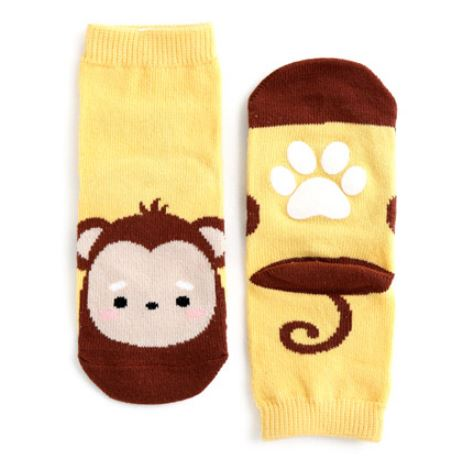 Yellow Brown Monkey Around Socks for Baby and Toddler Boys and Girls 0-5T - Bonjour Bear