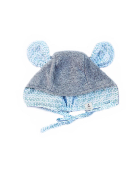 Grey Mouse Animal Ears Bonnet Hat for Baby and Toddler Boys and Girls 0-4T - Bonjour Bear