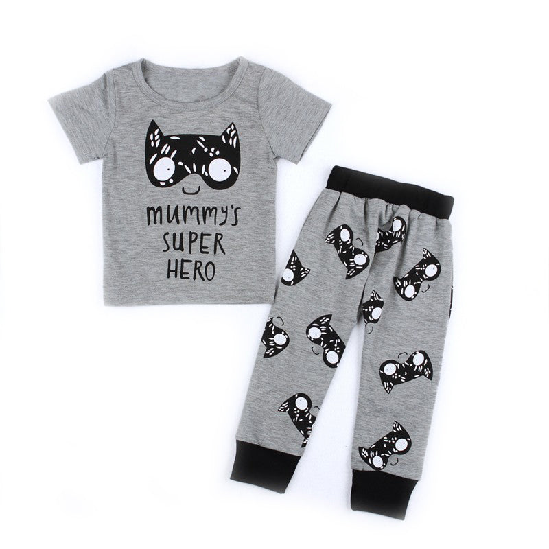 Gray & Black Mummy's Super Hero Short Sleeve T-Shirt and Long Pants Set for Baby and Toddler Boys 3M-2T - Bonjour Bear