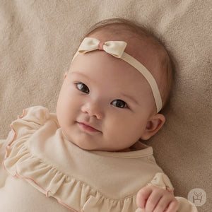 Infant and Toddler Naru Cream Simple Bow Hairband - Happy Prince