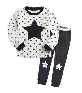 Toddler Girl's Navy Star Bright Pajamas - Bonjour Bear 12M to 3T