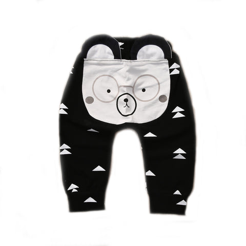 Baby and Toddler Boy Nerdy Glasses Bear Long Pants - Bonjour Bear NB to 24M