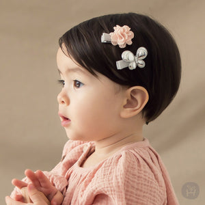 Toddler Girl's Nuevo Gray Flower and Butterfly Hairpin Set - Bonjour Bear