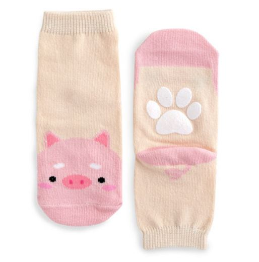 Toddler Girl's Pink Piggy Socks - Bonjour Bear NM to 5YR