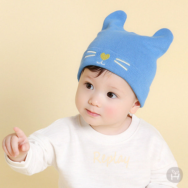 Baby and Toddler Boy Pin Heart Cat Nose Sky Blue Hat - Bonjour Bear 6M to 18M