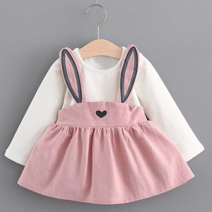 Baby Girl's Pink Bunny Ears Long Sleeve Dress - Bonjour Bear 6M to 24M