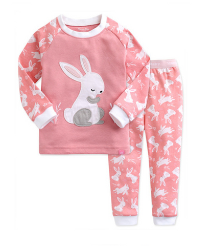 Toddler Girl's Sleepy Bunny Pajamas - Bonjour Bear 12M to 3T