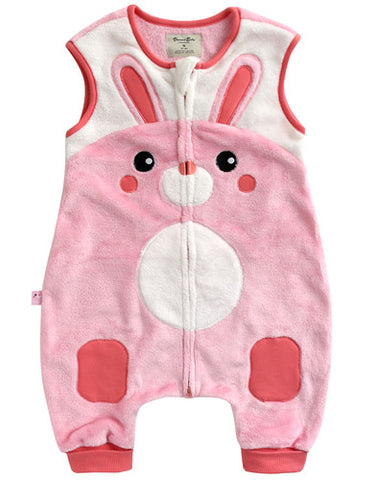 Infant Baby Girl's Microfiber Pink Bunny Face Sleep Vest - Bonjour Bear 12M to 2T