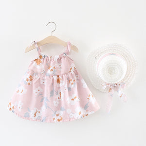 Baby Girl's Pink Floral Sleeveless Dress - Bonjour Bear 6M to 24M