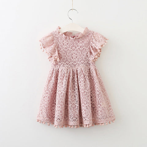 Toddler Girl's Pink Lace Pom Pom Dress - Bonjour Bear 3T to 5T