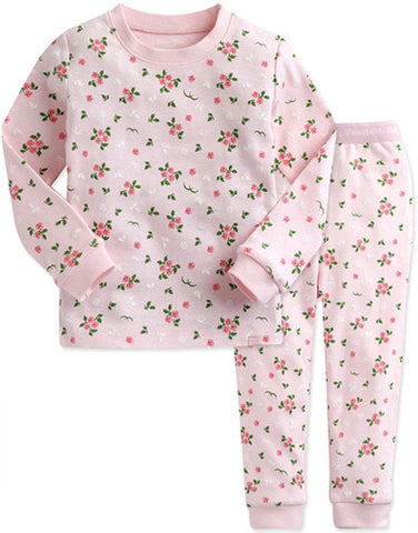 Toddler Girl's Pink Roses Long Sleeve Pajamas - Bonjour Bear 12M to 5T