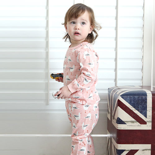 Toddler Girl's Pink Seagulls Long Sleeve Pajamas - Bonjour Bear 6M to 2T