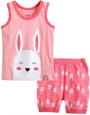 Toddler Girl's Sleeping Rabbit Sleeveless Pajamas - Bonjour Bear 12M-5T
