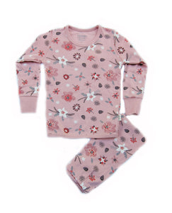 Toddler Girl's Winter Flowers Organic Long Sleeve Pajamas - Bonjour Bear 4T
