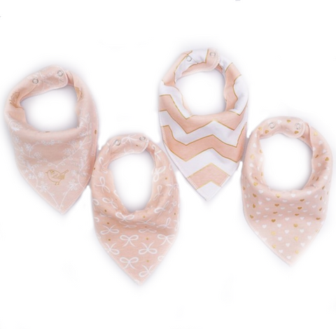 Baby Girl Pink Bandana Scarf Bib Set of 4  - Bonjour Bear