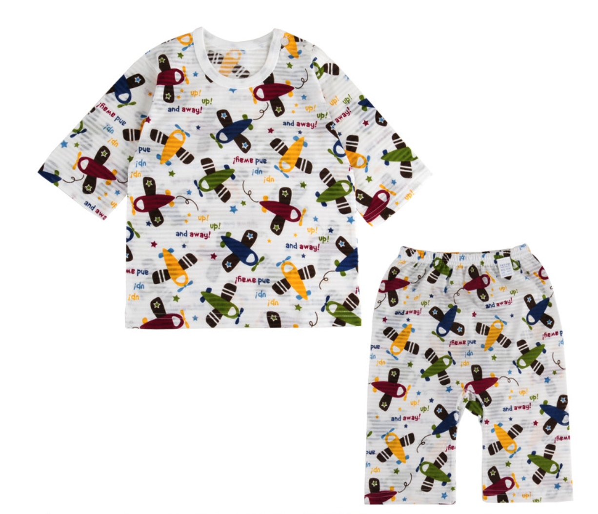 Toddler Boy's Take Flight Airplane 3/4 Sleeve Pajamas - Bonjour Bear 12M to 2T