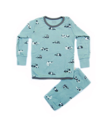 Toddler Boy's Point Car Organic Long Sleeve Pajamas - Bonjour Bear 4T