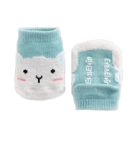 Mint Green Cat Sleeping Socks for Baby and Toddler Boys and Girls 0-5T - Bonjour Bear