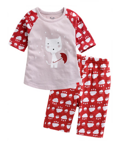 Toddler Girl's Rainy Cat 3/4 Sleeve Pajamas - Bonjour Bear 12M to 3T
