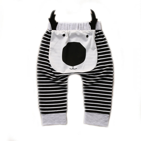 Baby Toddler Boy's Black & White Moose Striped Long Pants 0-2T - Bonjour Bear