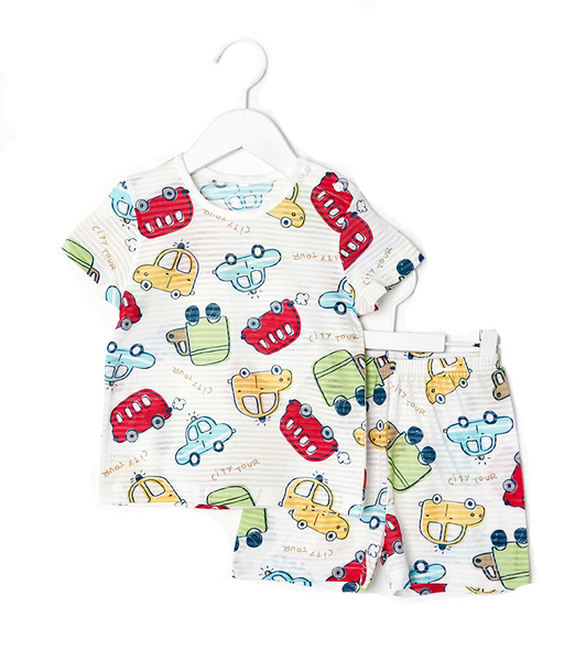 Toddler Boy's Rolly Cars Short Sleeve Pajamas - Bonjour Bear 12M to 5T