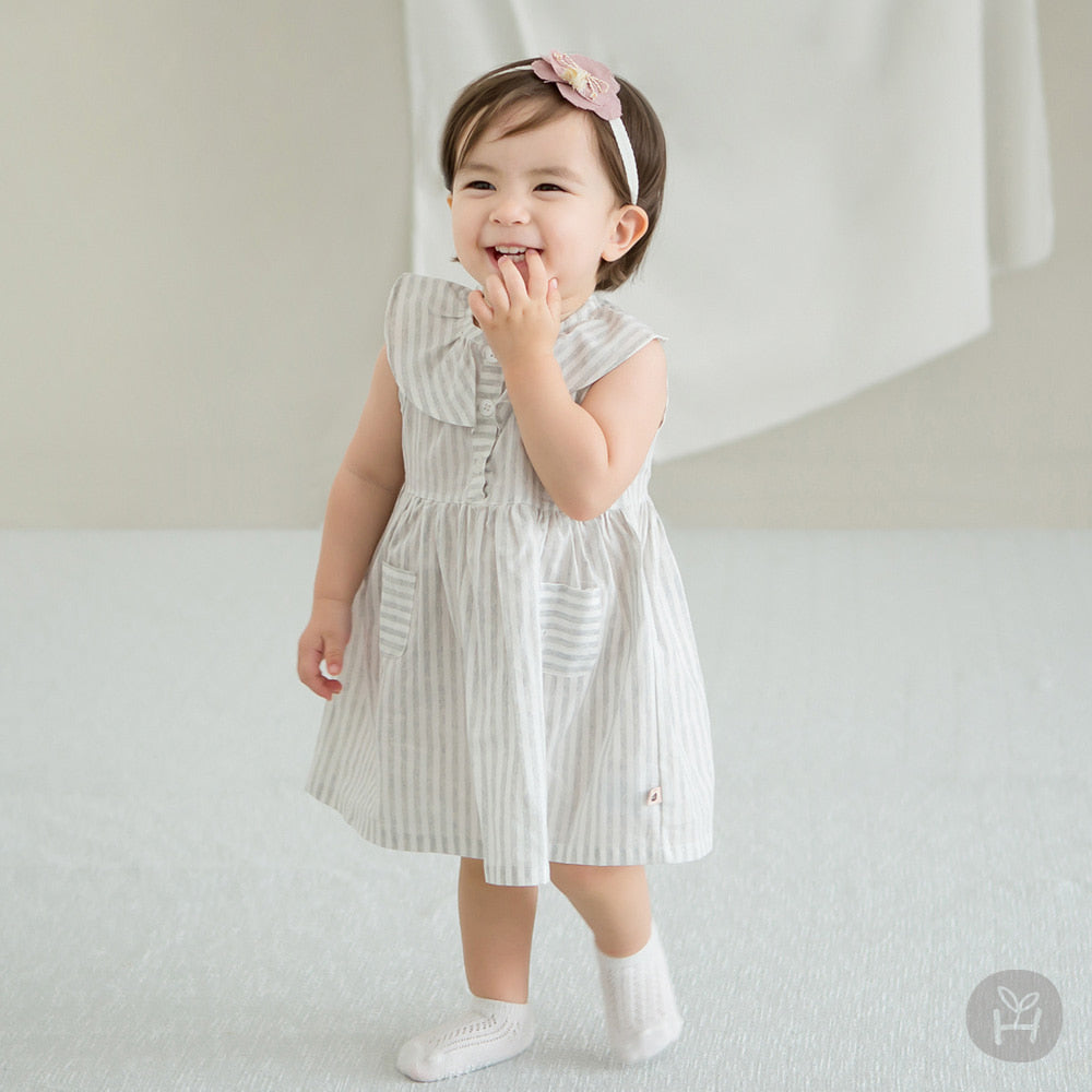 Girl's Rurian Sleeveless Striped Dress - Happy Prince