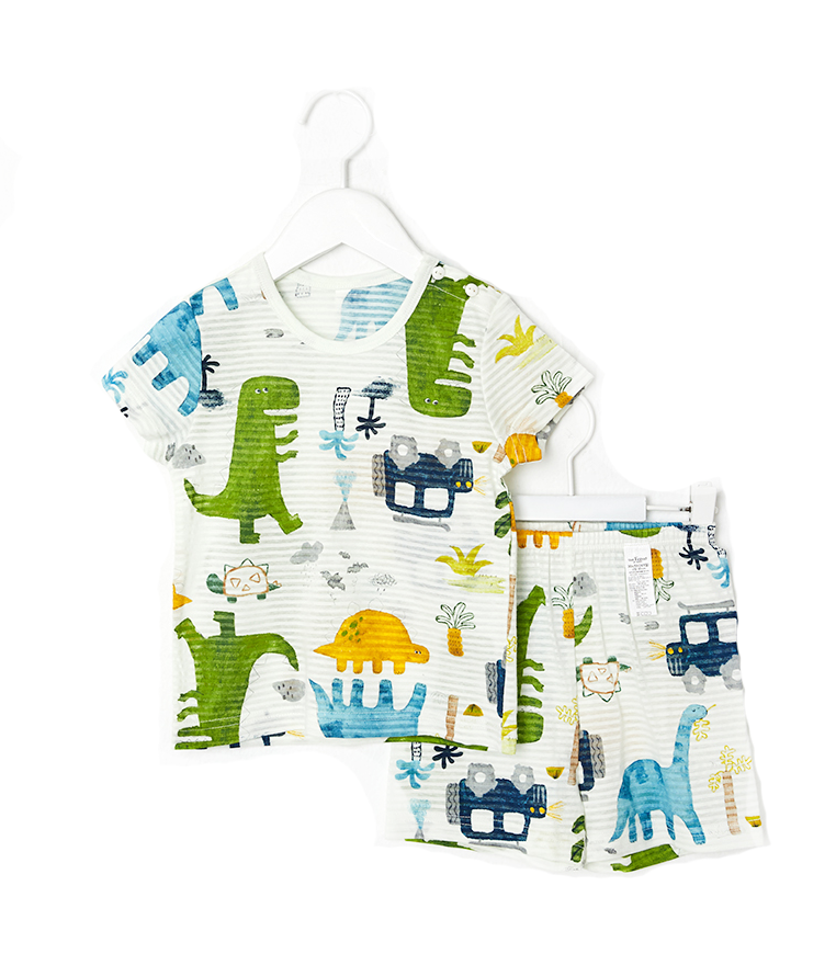Toddler Boy's Safari Dino Short Sleeve Pajamas - Bonjour Bear 12M to 5T