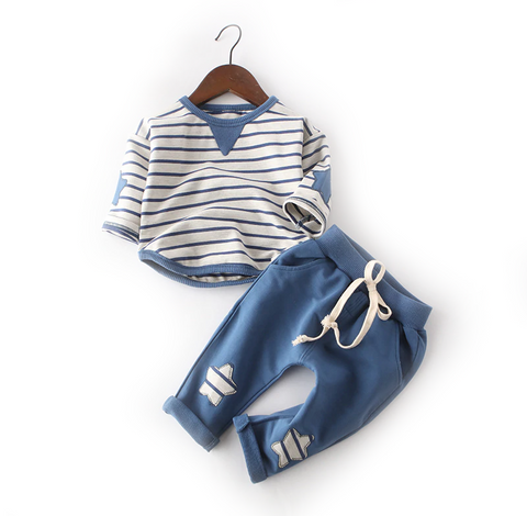 Toddler Boy's and Girl's Blue and White Striped Long Sleeve Set - Bonjour Bear - 12M to 3T