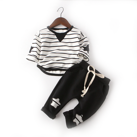 Toddler Boy's and Girls Black and White Striped Long Sleeve Set - Bonjour Bear - 12M to 3T