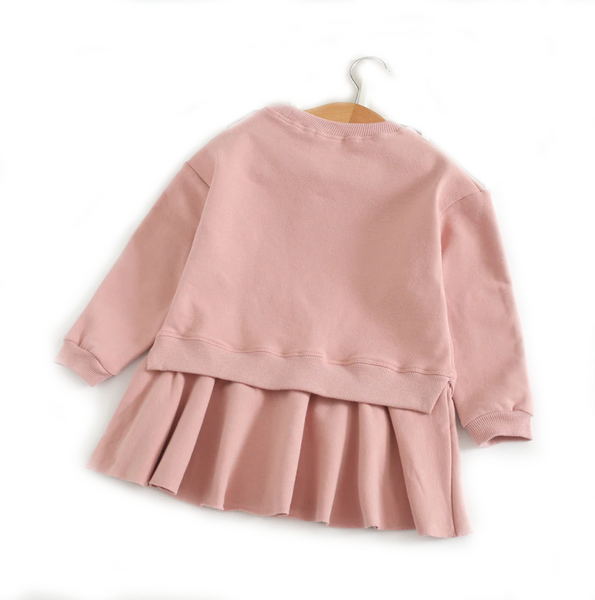 Toddler Girl's Sleeping Bunny Pink Long Sleeve Dress 2T to 5T Bonjour Bear