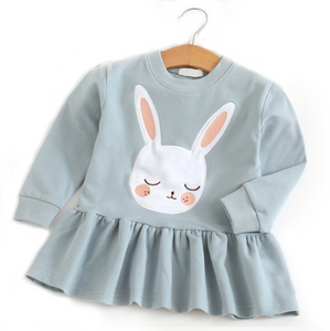 Toddler Girl's Sleeping Bunny Blue Long Sleeve Dress - Bonjour Bear 2T to 5T