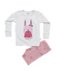 Toddler Girl's Shy Rabbit Organic Long Sleeve Pajamas - Bonjour Bear 2T to 4T