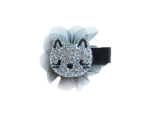 Toddler Girl's Silver Glitter Cat Hair Pin - Bonjour Bear