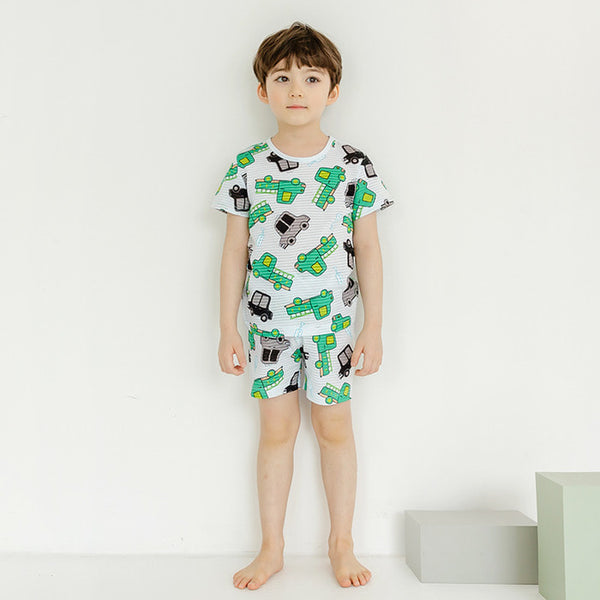 Simple Cars Short Sleeve Pajamas - Bonjour Bear