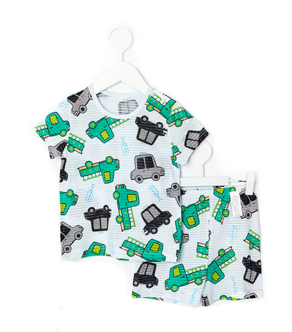 Toddler Boy's Simple Cars Short Sleeve Pajamas - Bonjour Bear 12M to 5T