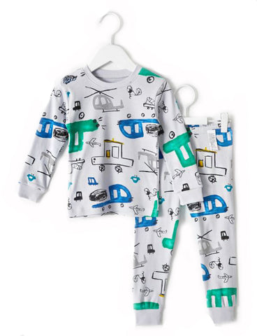 Toddler Boy's Sketch Car Long Sleeve Pajamas - Bonjour Bear 2T to 3T