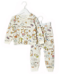 Toddler Boy's Sketch Monkey Long Sleeve Pajamas - Bonjour Bear 12M to 3T