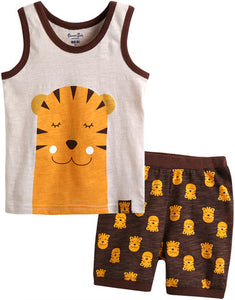 Toddler Boy's Sleeping Tiger Sleeveless Pajamas - Bonjour Bear 12M to 5T