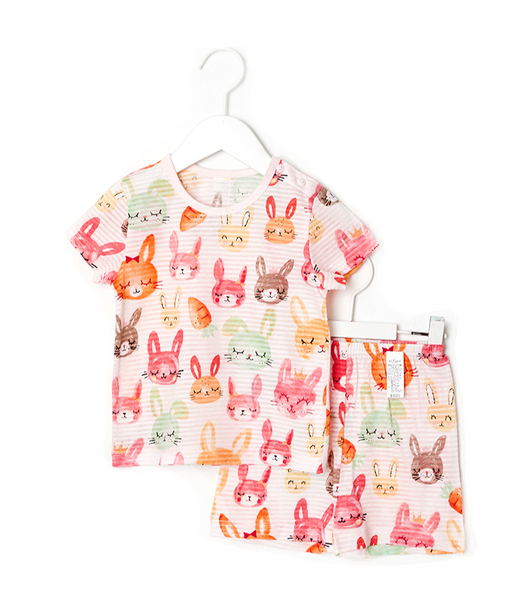 Toddler Girl's Sleepy Bunnies Short Sleeve Pajamas - Bonjour Bear 12M to 5T