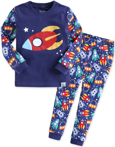Toddler Boy's Space Rocket Ship Long Sleeve Pajamas - Bonjour Bear 12M to 5T