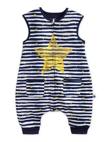 Baby Infant Star Blue Striped Sleepsack - Bonjour Bear 12M to 2T