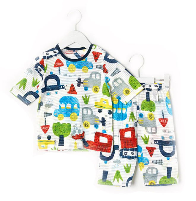 Toddler Boy's Street Cars Short Sleeve Pajamas - Bonjour Bear 12M to 3T