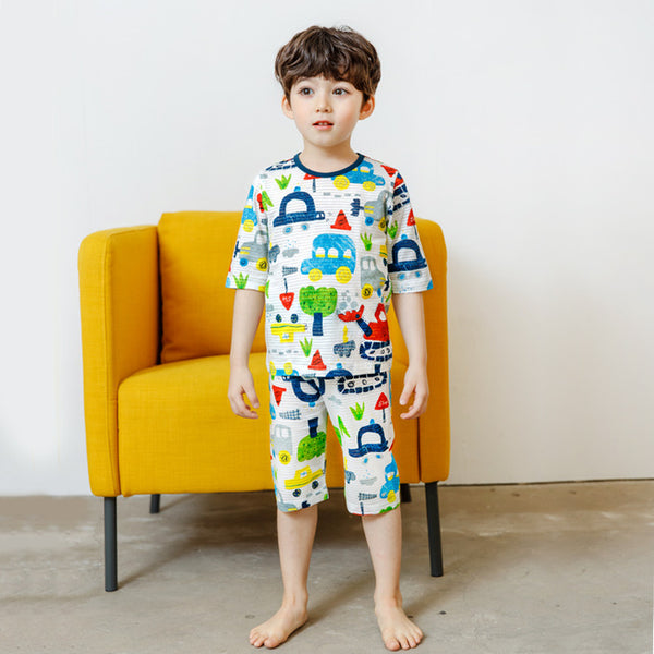 Street Cars Short Sleeve Pajamas - Bonjour Bear
