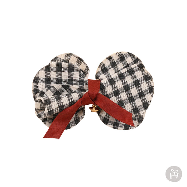 Infant and Toddler Suzanne Gingham Black and White Bow Hairpin - Happy Prince
