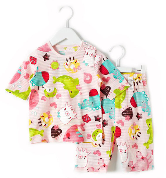 Toddler Girl's Under the Sea Short Sleeve Pajamas - Bonjour Bear 12M to 3T