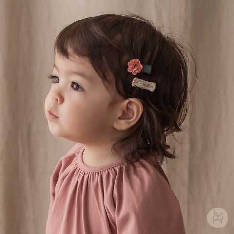 Infant and Toddler Vinlus Pink Flower Hairpin Set - Happy Prince